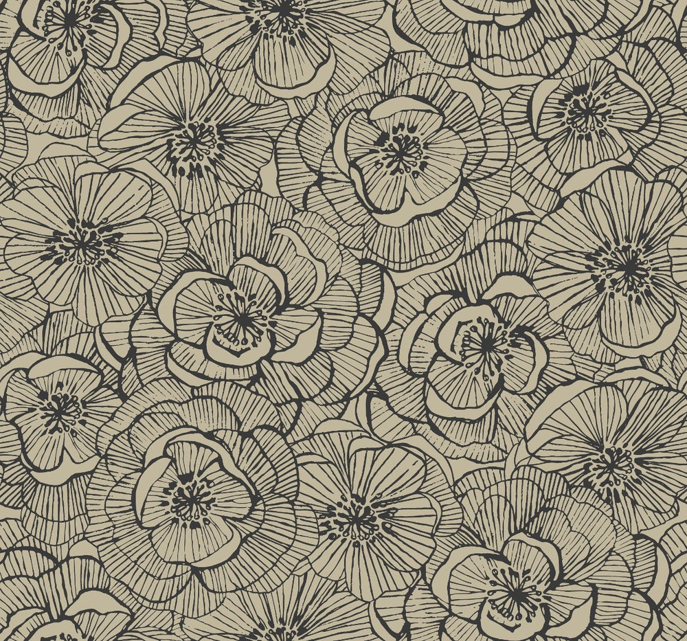 AW71008 Jardine graphic floral wallpaper from the Casa Blanca 2 collection by Collins & Company