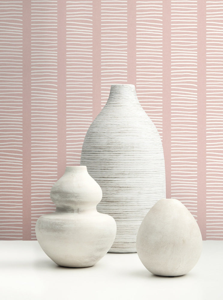 MB30411 vases coastline striped wallpaper from the Beach House collection by Seabrook Designs