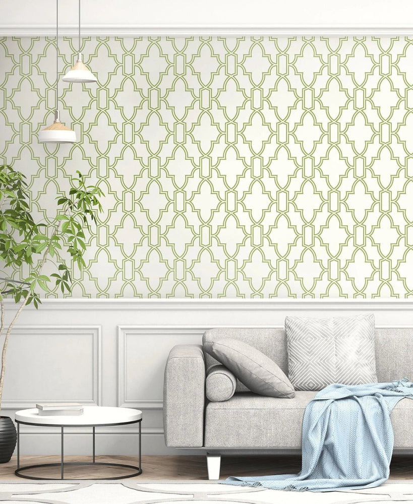 NextWall Green and White Tile Trellis Peel and Stick Removable Wallpaper