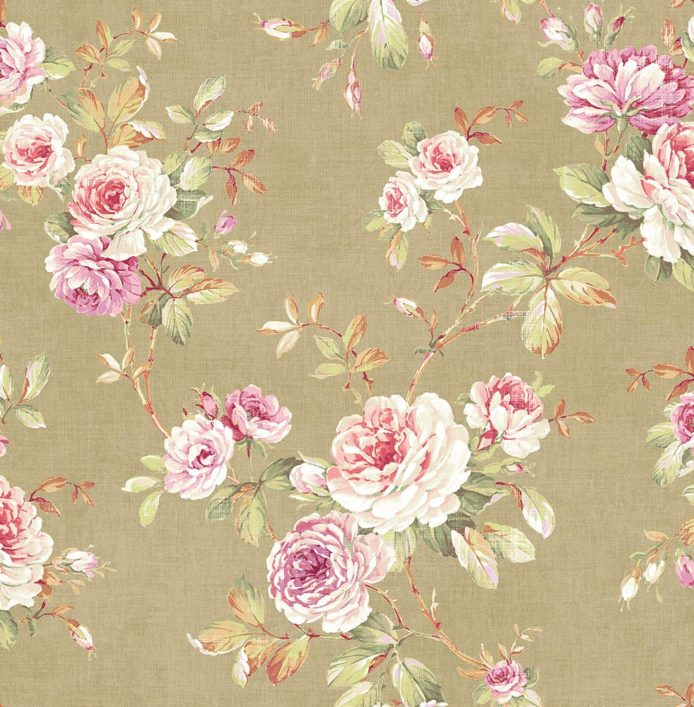 RG61407 floral trail wallpaper from the Garden Rose collection by Seabrook Designs