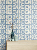 AI40202 Dynasty lattice geometric wallpaper decor from the Koi collection by Seabrook Designs