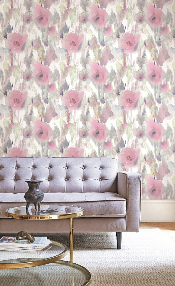 AH40409 watercolor floral wallpaper decor  from the L'Atelier de Paris collection by Seabrook Designs