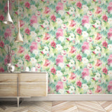 AH40901 watercolor floral wallpaper from the L'atelier de Paris collection by Seabrook Designs