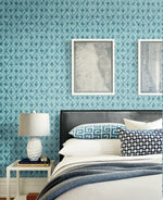 AH40602 shibori geometric wallpaper bedroom from the L'Ateler de Paris collection by Seabrook Designs