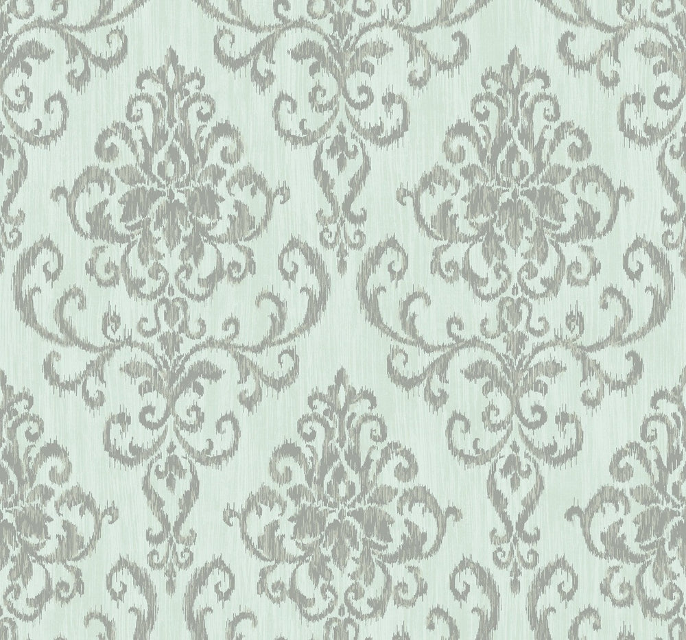 OA22502 washed damask wallpaper from the Indigo collection by Seabrook Designs
