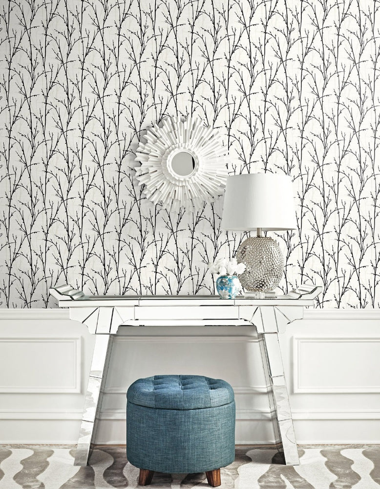 SH71500 deer park twigs botanical wallpaper decor from the New Hampton collection by Seabrook Designs