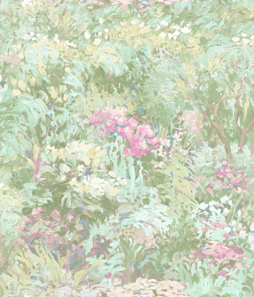FI70702 green brushstroke garden botanical wallpaper from the French Impressionist collection by Seabrook Designs