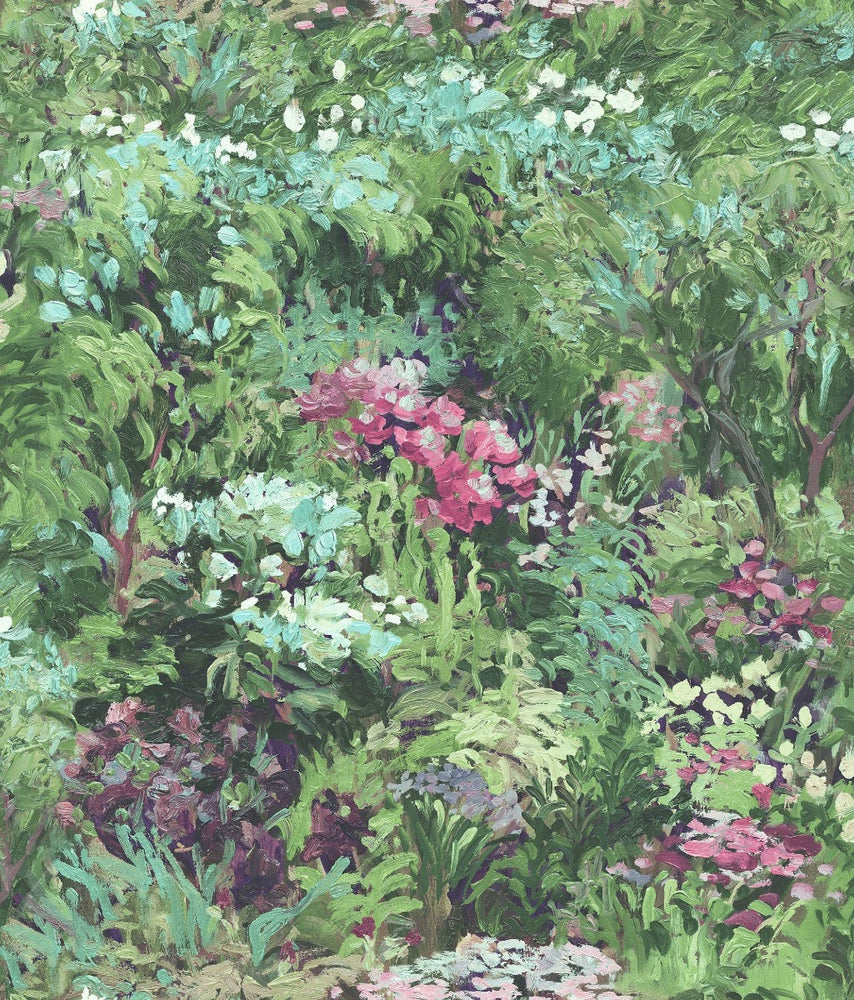 FI70701 green brushstroke garden botanical wallpaper from the French Impressionist collection by Seabrook Designs