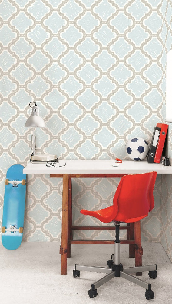 FA40408 racetrack ogee kids wallpaper decor from the Playdate Adventure collection by Seabrook Designs