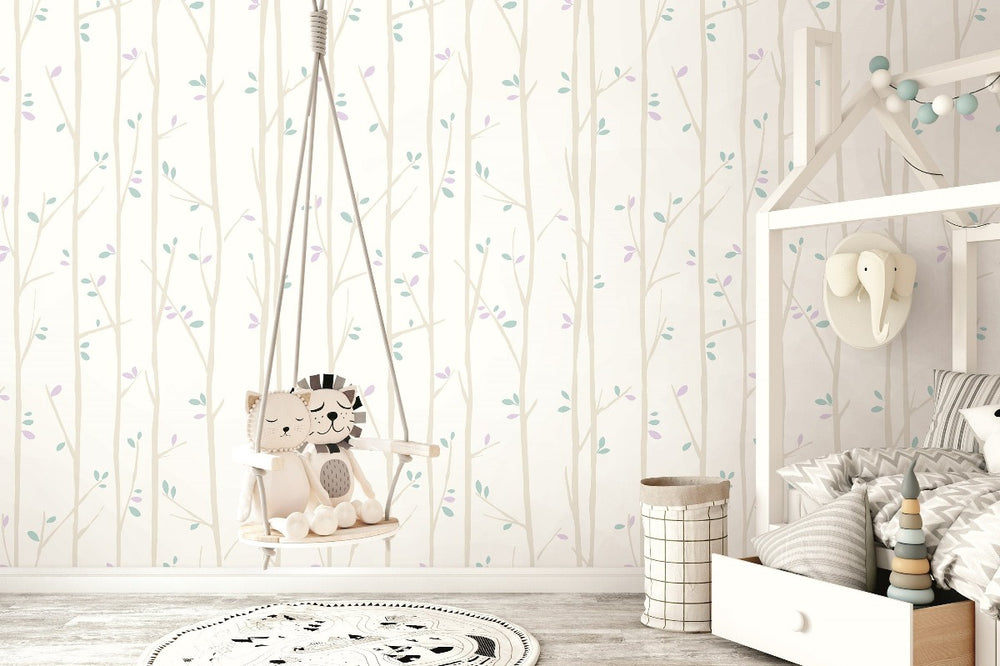FA41209 tree top kids forest wallpaper decor from the Playdate Adventure collection by Seabrook Designs
