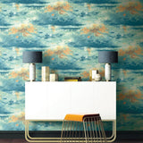 FI70004 nautical sunset scenic wallpaper decor from the French Impressionist collection by Seabrook Designs