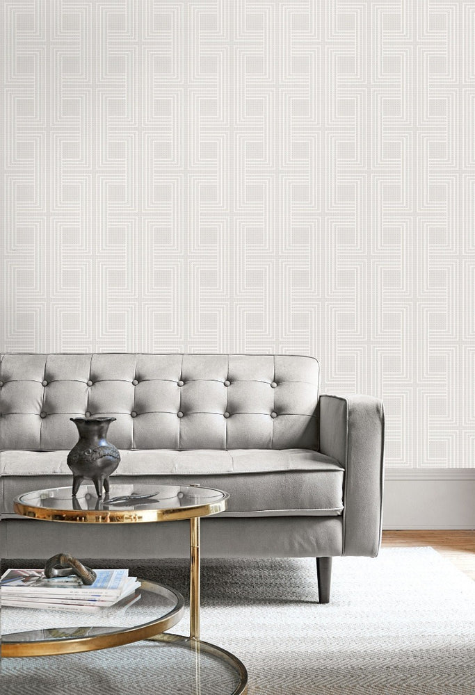 AW71600 interlocking squares geometric wallpaper decor from the Casa Blanca 2 collection by Collins & Company