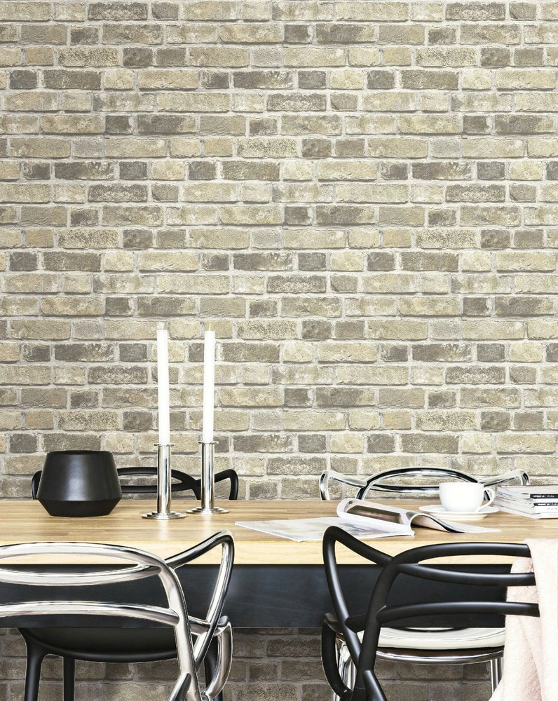 NextWall Distressed Neutral Brick Peel and Stick Removable Wallpaper
