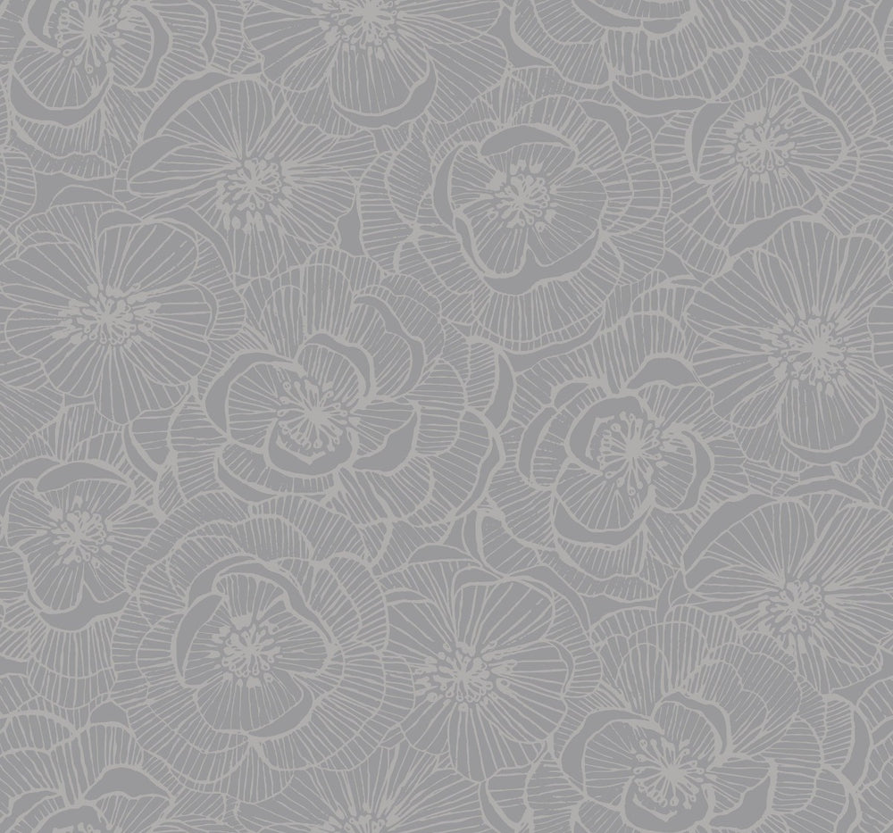 AW71010 Jardine graphic floral wallpaper from the Casa Blanca 2 collection by Collins & Company
