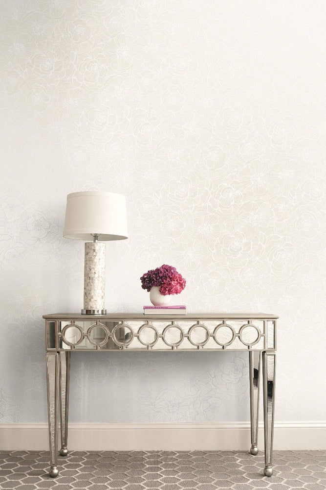 AW71001 Jardine graphic floral wallpaper decor from the Casa Blanca 2 collection by Collins & Company