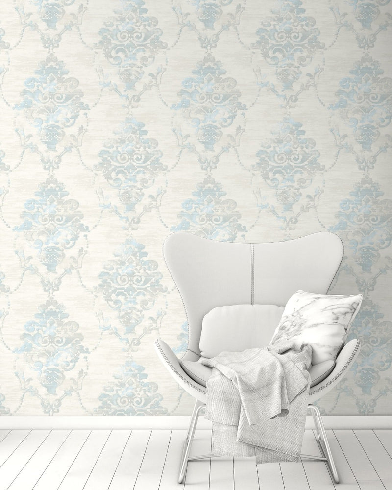 FI71008 damask wallpaper decor from the French Impressionist collection by Seabrook Designs