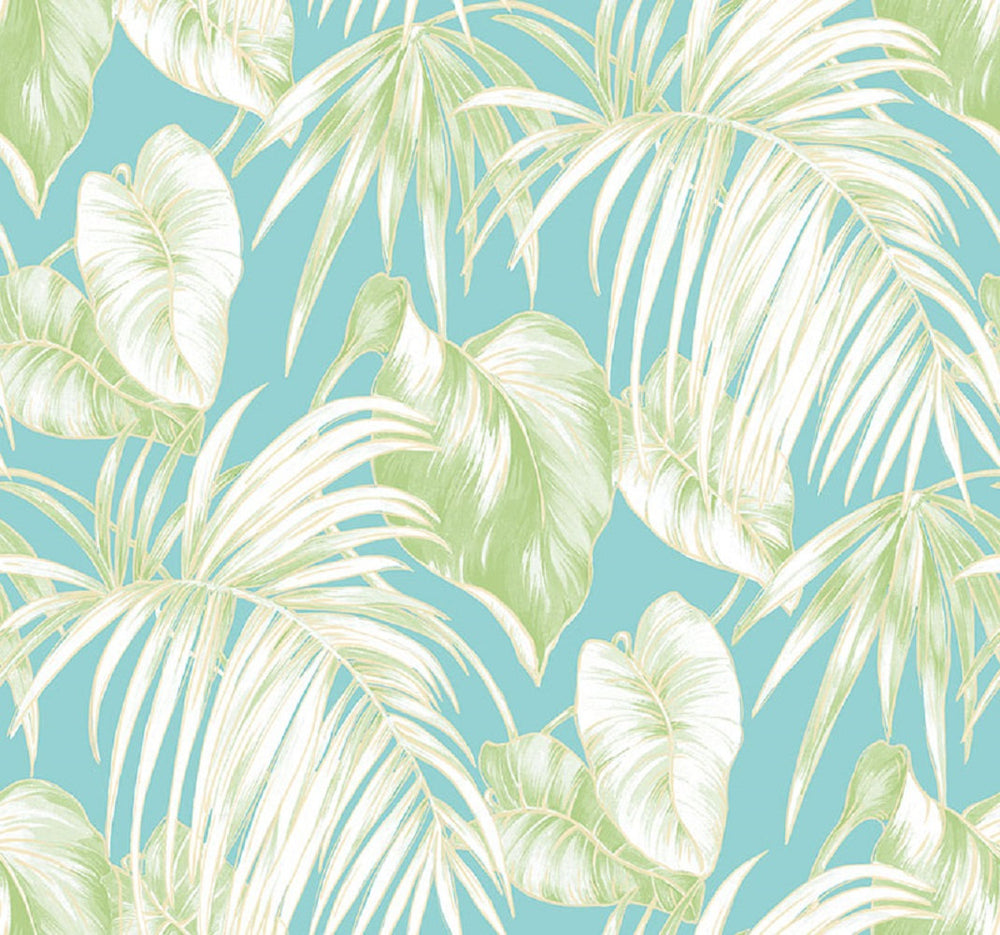 TA21602 dominica tropical leaf wallpaper from the Tortuga collection by Seabrook Designs