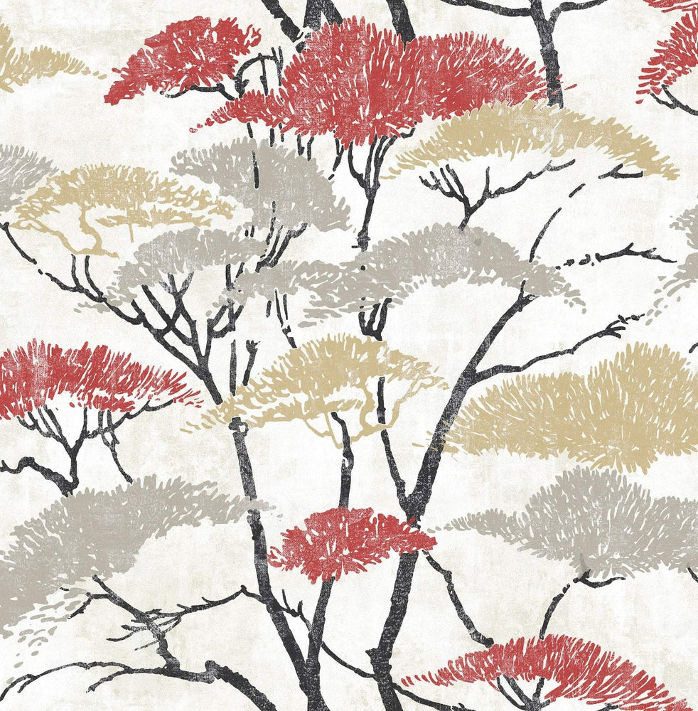 AI41400 confucius tree wallpaper from the Koi collection by Seabrook Designs
