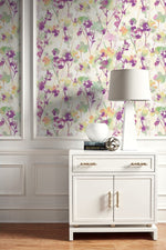 LG91409 Faravel watercolor floral wallpaper decor from the Lugano collection by Seabrook Designs