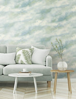 AH41402 living room cloudy faux abstract wallpaper from the L'Atelier de Paris collection by Seabrook Designs