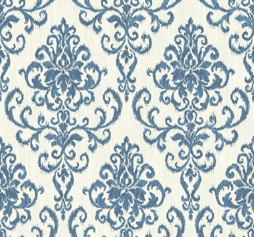 OA22512 washed damask wallpaper from the Indigo collection by Seabrook Designs