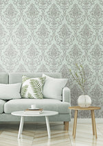 OA22502 washed damask wallpaper living room from the Indigo collection by Seabrook Designs