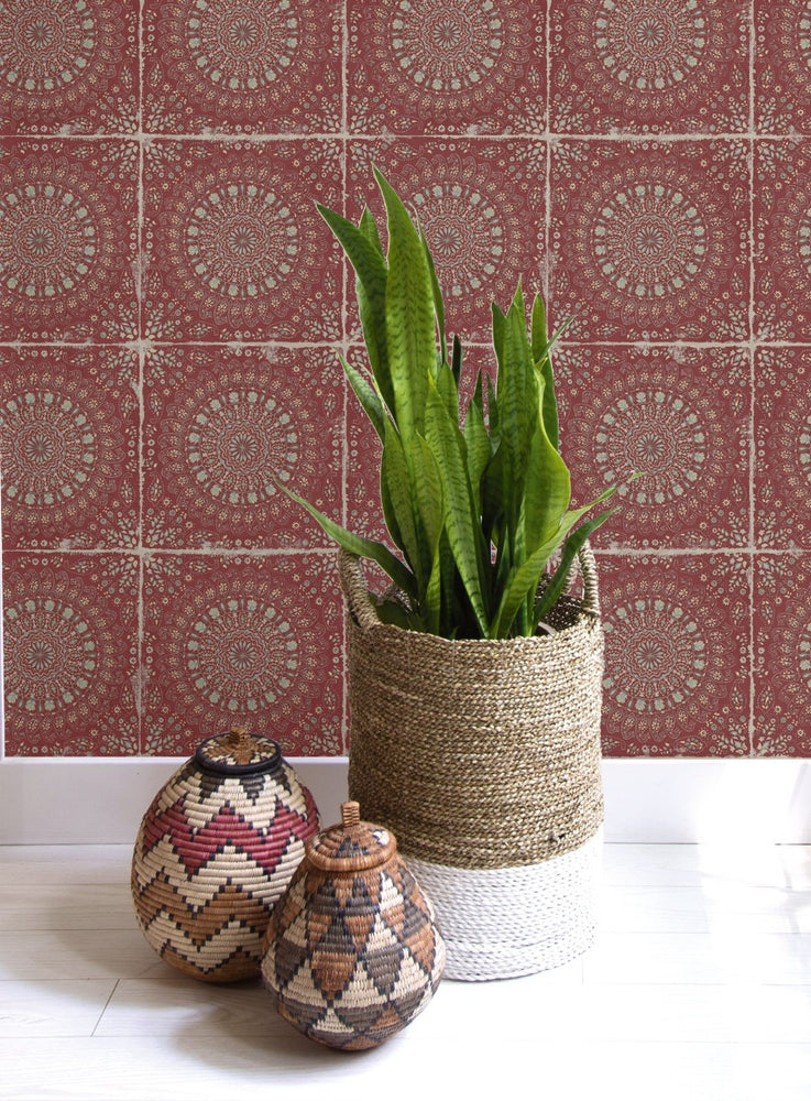 RY30710 mandala tile rustic wallpaper from the Boho Rhapsody collection by Seabrook Designs
