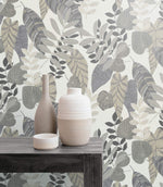 RY30908 tropicana leaves botanical wallpaper bench from the Boho Rhapsody collection by Seabrook Designs