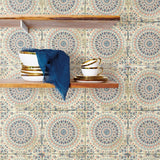 RY30706 mandala tile rustic wallpaper from the Boho Rhapsody collection by Seabrook Designs