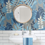 RY30912 tropicana leaves botanical wallpaper bathroom from the Boho Rhapsody collection by Seabrook Designs