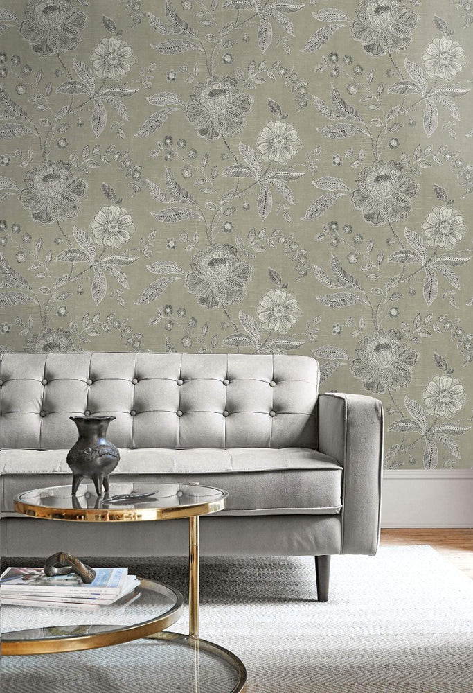 MK20300 linework floral wallpaper decor from the Metallika collection by Seabrook Designs