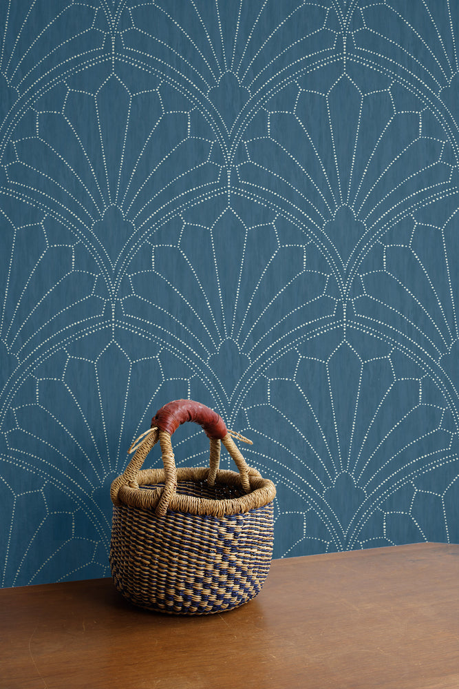 RY31502 scallop medallion geometric wallpaper from the Boho Rhapsody collection by Seabrook Designs
