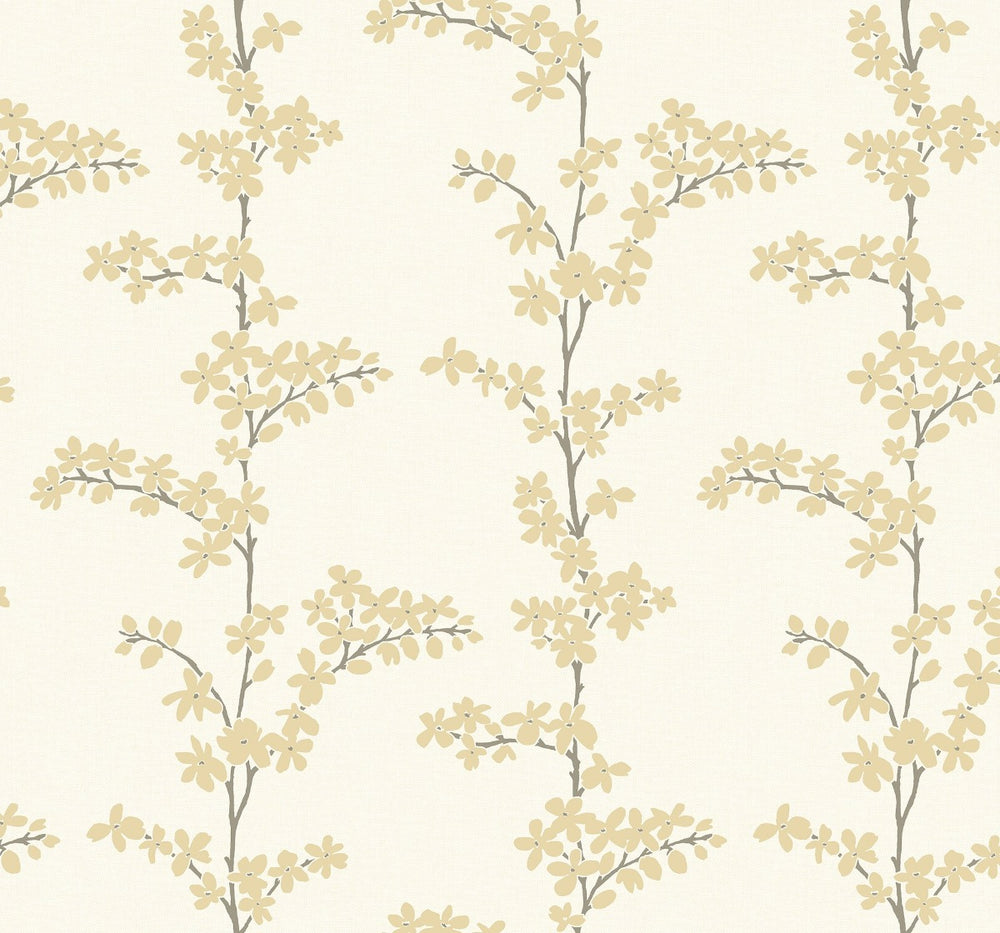 SH70305 gold appleton floral wallpaper from the New Hampton collection by Seabrook Designs