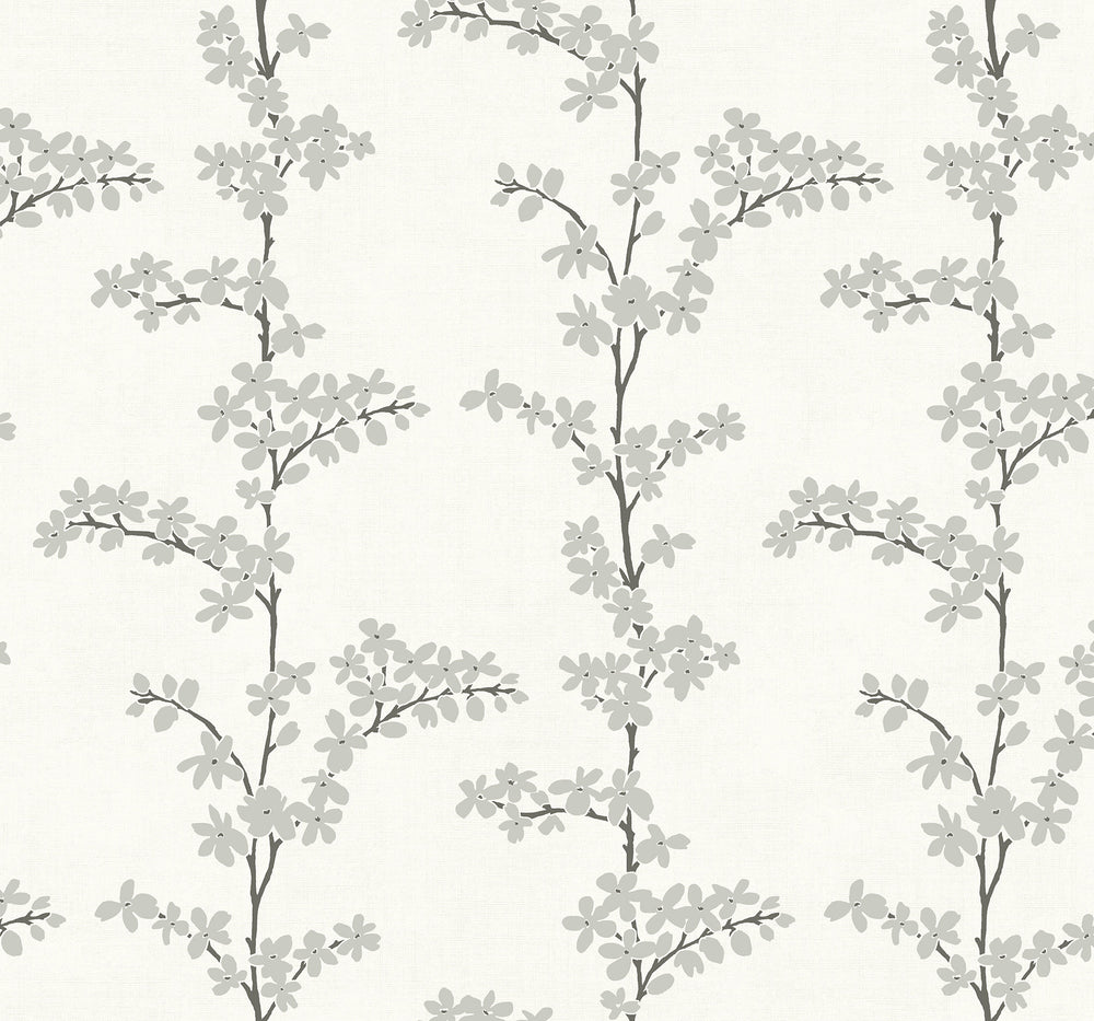 SH70318 silver appleton floral wallpaper from the New Hampton collection by Seabrook Designs