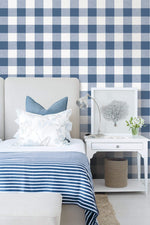 MB31902 bedroom blue picnic plaid coastal wallpaper from the Beach House collection by Seabrook Designs
