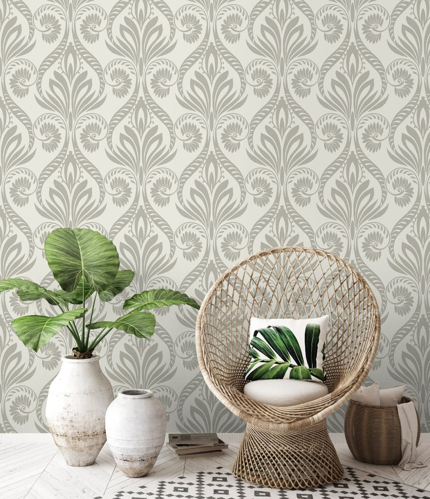 TA21008 bonaire retro damask wallpaper decor from the Tortuga collection by Seabrook Designs