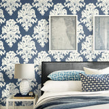 TA20101 montserrat damask wallpaper decor from the Tortuga collection by Seabrook Designs