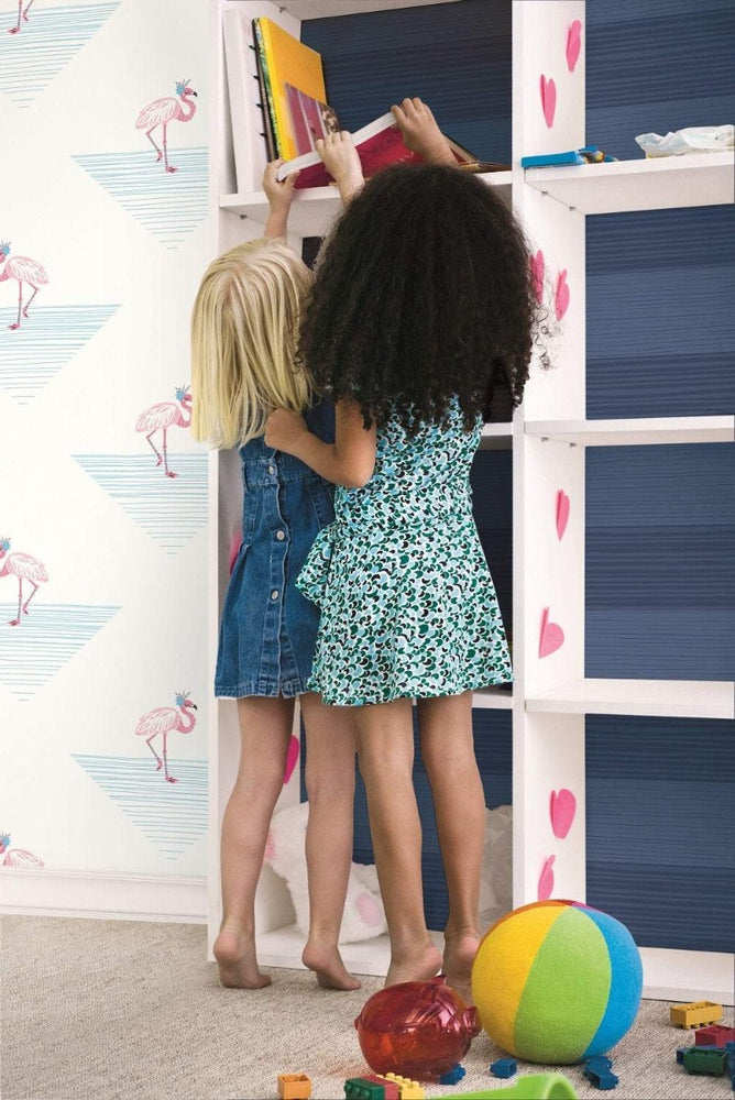 DA61701 dancing flamingos kids wallpaper decor from the Day Dreamers collection by Seabrook Designs