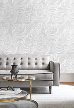 AW72020 oil and water abstract wallpaper living room from the Casa Blanca 2 collection by Collins & Company