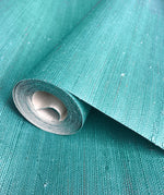 Natural Jute Teal Grasscloth Wallpaper