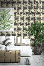 TA20400 Martinique maze geometric wallpaper living room from the Tortuga collection by Seabrook Designs
