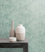 EC52004 fan leaf wallpaper decor from the Eco Chic II collection by Seabrook Designs