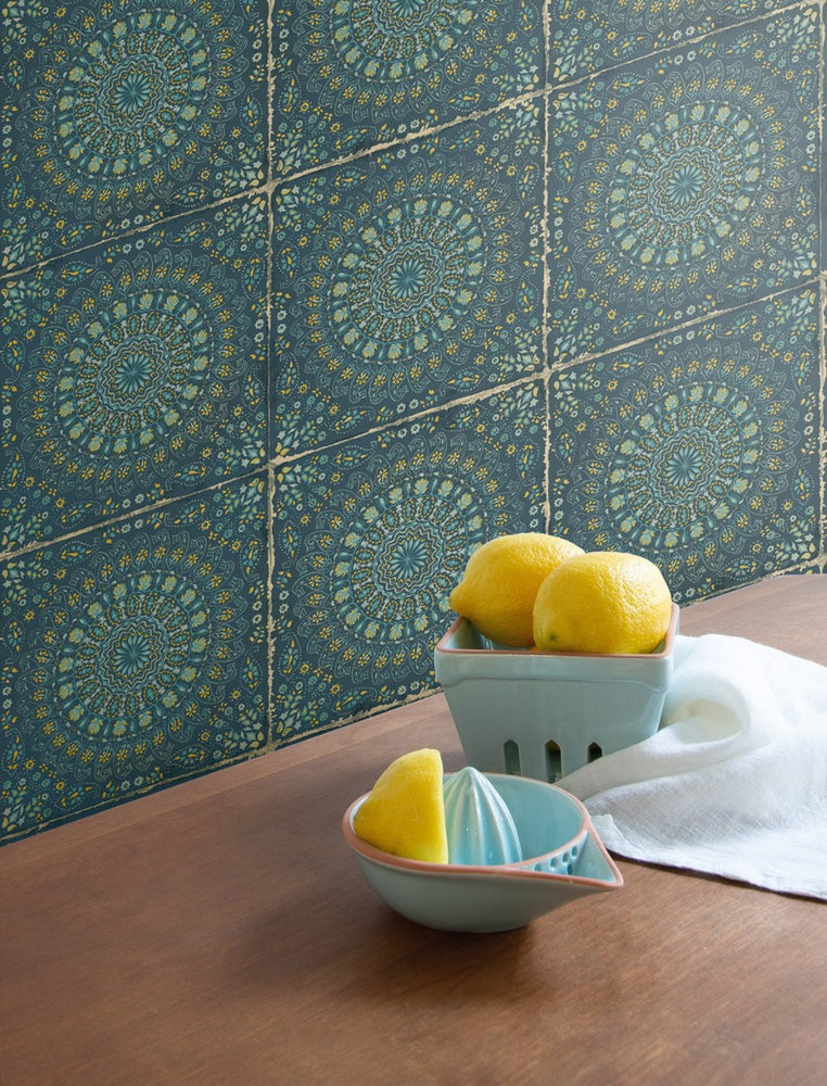 RY30712 mandala tile rustic wallpaper from the Boho Rhapsody collection by Seabrook Designs