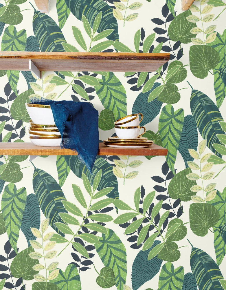 RY30904 tropicana leaves botanical wallpaper shelf from the Boho Rhapsody collection by Seabrook Designs