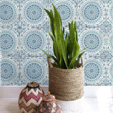 RY30702 mandala tile rustic wallpaper from the Boho Rhapsody collection by Seabrook Designs