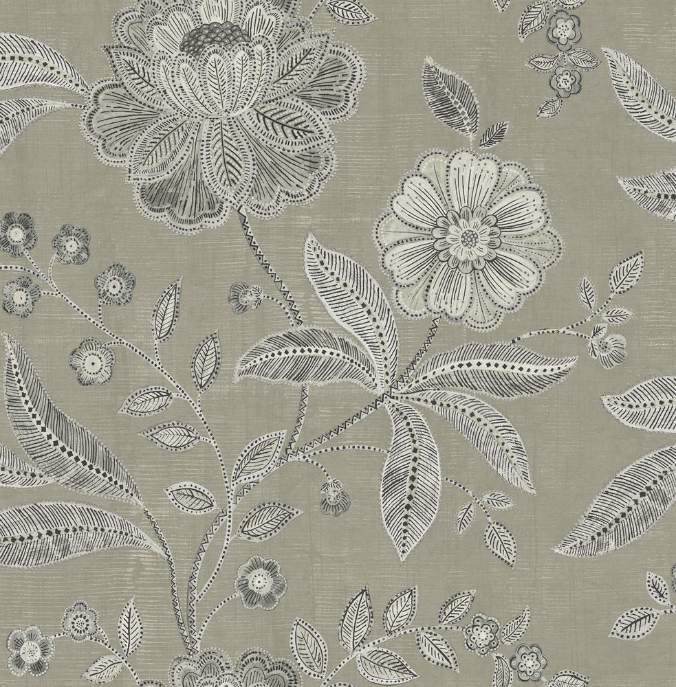 MK20300 linework floral wallpaper from the Metallika collection by Seabrook Designs