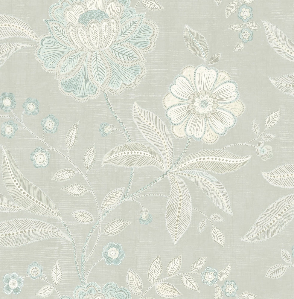 MK20302 linework floral wallpaper from the Metallika collection by Seabrook Designs