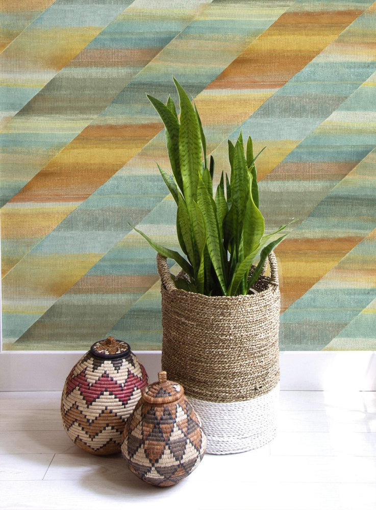 RY30303 rainbow diagonals striped wallpaper from the Boho Rhapsody collection by Seabrook Designs