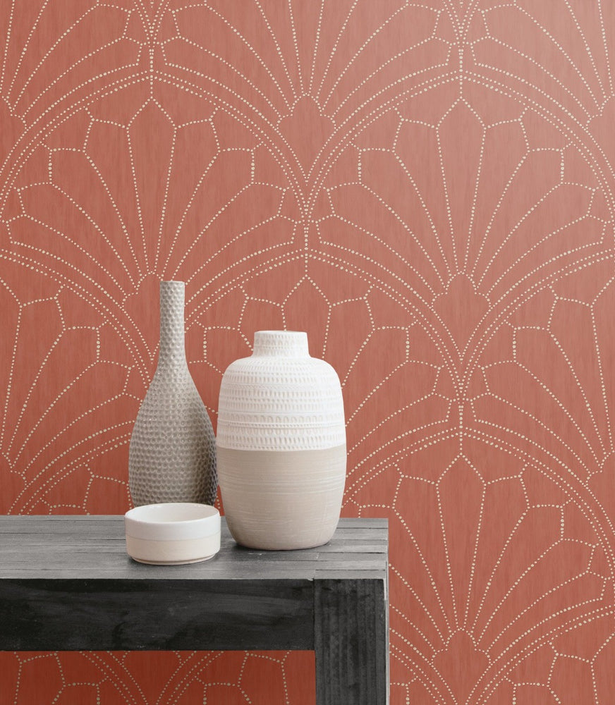RY31501 scallop medallion geometric wallpaper from the Boho Rhapsody collection by Seabrook Designs