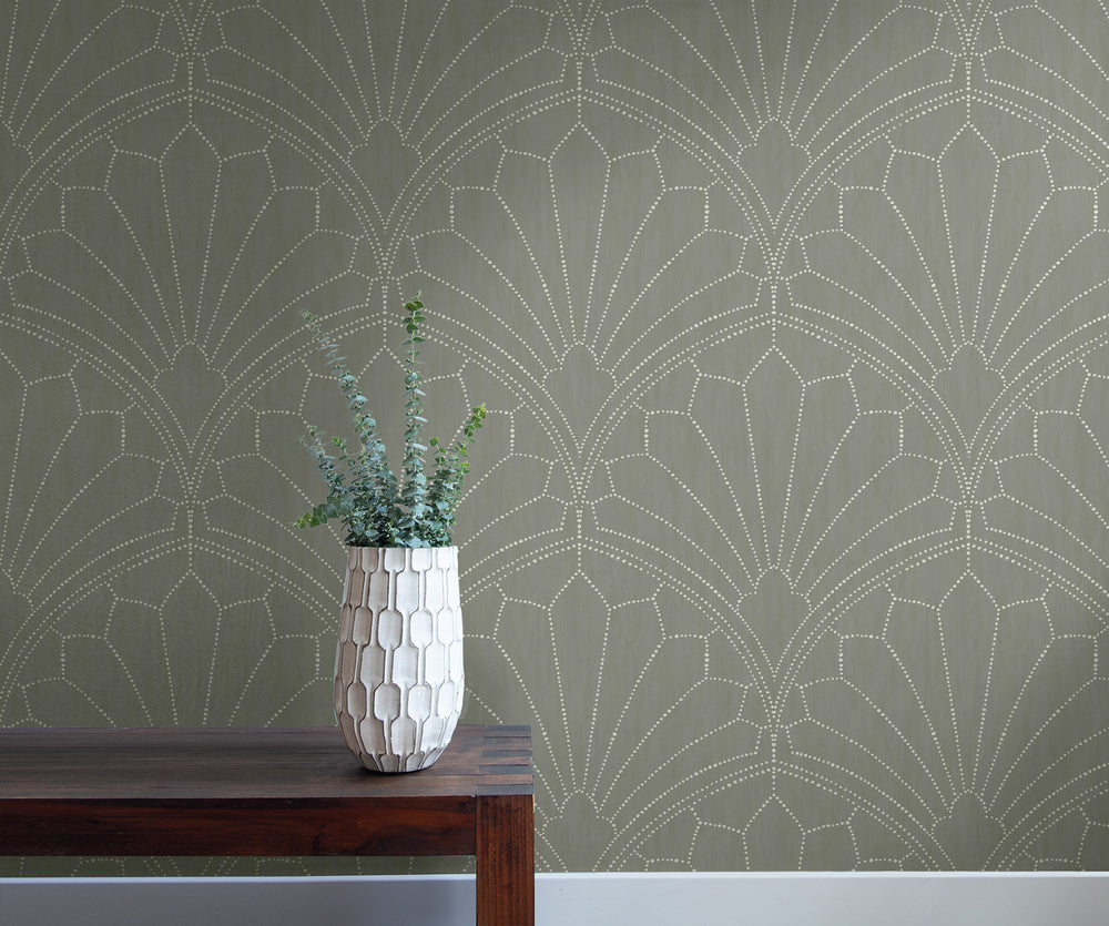 RY31515 scallop medallion geometric wallpaper from the Boho Rhapsody collection by Seabrook Designs